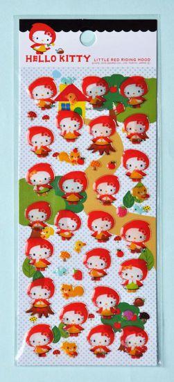 STIC104 Hello Kitty Red Riding Hood Sticker Sheet
