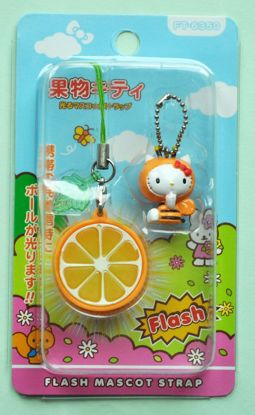 CHARM073 Kitty Flashing Phone Charm - Orange