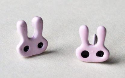 MISC210 Kawaii Pair of Bunny Studs - Baby Pink