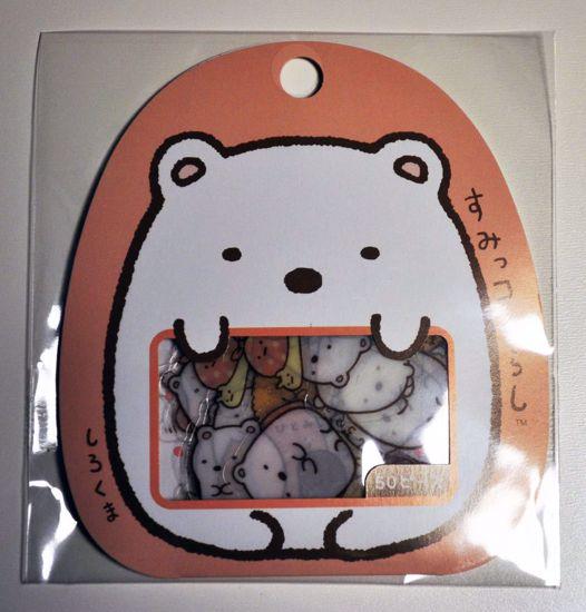 SACK140 Sumikkogurashi Sticker Flakes Sack - Polar Bear - Shirokuma
