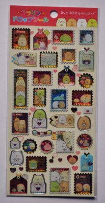 STIC483 Sumikkogurashi Raised Plastic Glittery Stamps Sticker Sheet - B