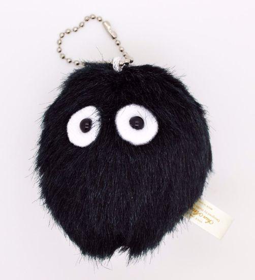 PLUSH251 Cute and Fluffy Black Dust Bunny Totoro Plush Key Chain / Charm