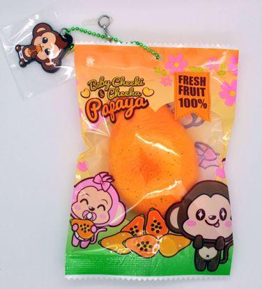 SQUISH1838 Puni Maru Super Soft and Slow Rising Baby Cheeki and Cheeka Papaya Squishy - B