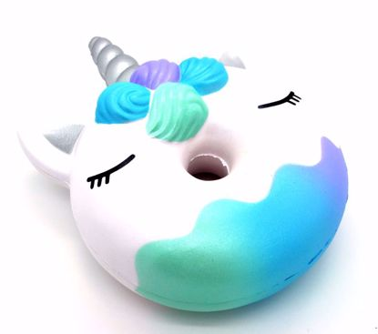SQUISH1914 Bunnys Cafe Super Soft and Slow Rising Scented Candicorn Donut Squishy - Silver Horn