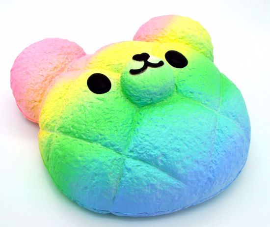 SQUISH1915 Bunny's Cafe Super Super Soft and Slow Rising Scented KT Bakery Kumatan Melon Buns Squishy - Rainbow